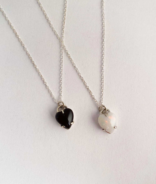 Heart Necklace Onyx silver