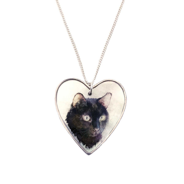 Personalized Pet Portrait on Mother of Pearl Heart