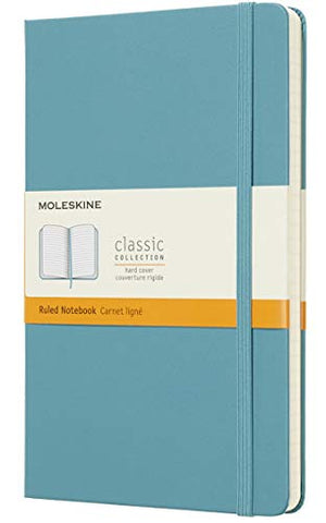 "Moleskine Classic Notebook, Hard Cover, Large (5"" x 8.25"") Ruled/Lined, Reef Blue, 240 Pages"