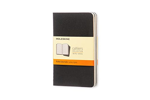 "Moleskine Cahier Soft Cover Journal, Set of 3, Ruled, Pocket Size (3.5"" x 5.5"") Black"