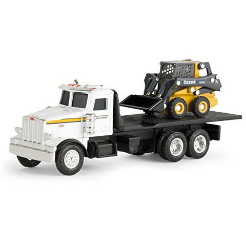 ERTL 1/64th John Deere Peterbilt Flatbed Truck with 320E Skidsteer