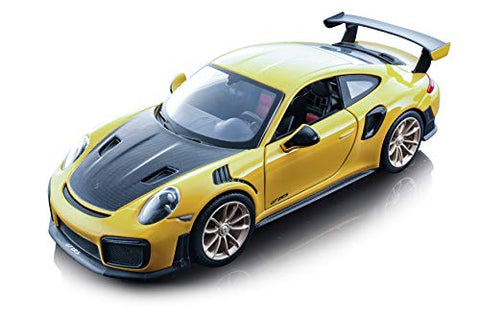Maisto Porsche 911 GT2 RS Yellow with Carbon Hood 1/24 Diecast Model Car 31523