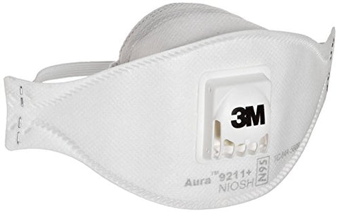 3M 9211+ Aura N95 Particulate Respirator, White, Pack of 120