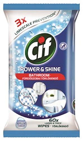 Cif Power And Shine Bathroom Wipes 60s, Pack of 6