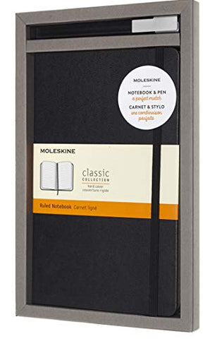 Moleskine Classic Hard Cover Ruled Notebook & Rollergel Pen Set