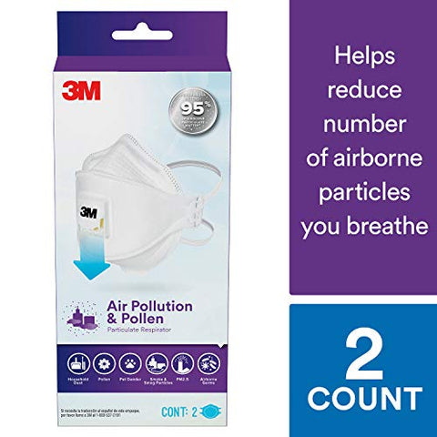 3M Air Pollution & Pollen Particulate Respirator, N95, 2-Pack, Adult