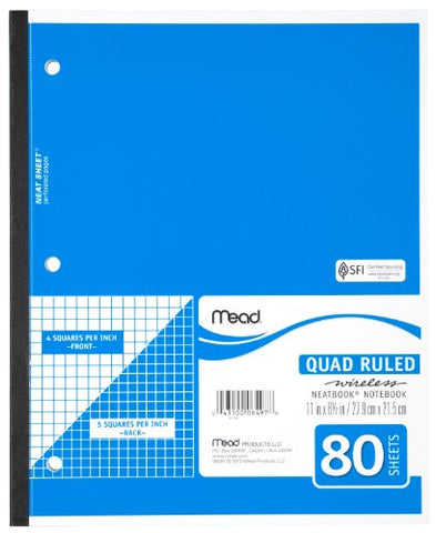 Mead Notebook, Wireless, 1 Subject, Quad Ruled