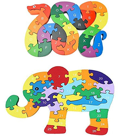 Johouse Blocks Jigsaw Puzzles, Wooden Alphabet Jigsaw Puzzle