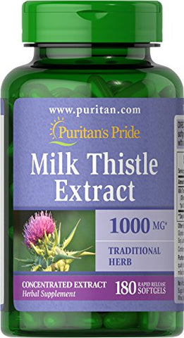 Puritans Pride Milk Thistle Extract 1000 Mg (Silymarin) Softgels, 180 Count
