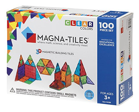 Magna-Tiles 100-Piece Clear Colors Set – The Original, Award-Winning Magnetic Building Tiles
