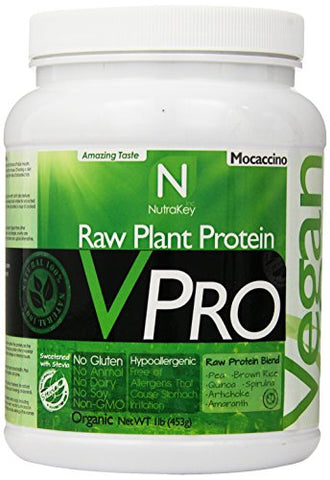 NutraKey V-Pro Raw Plant Based Protein Powder with 23g of Protein