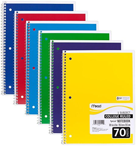 Mead Spiral Notebooks, 1 Subject, College Ruled, 70 Sheets