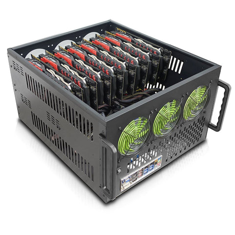 Hydra II 8 GPU 6U Server Mining Rig Case, Dual PSU Ready
