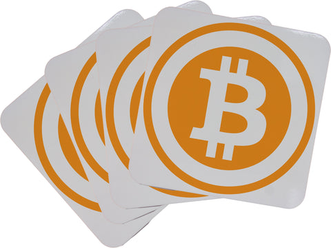 Set of Four Bitcoin Logo Cork Backed Coasters