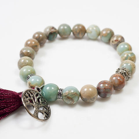 [Chiyoflow] Natural Shoushan Gem Yoga Bracelet w/ Tassel