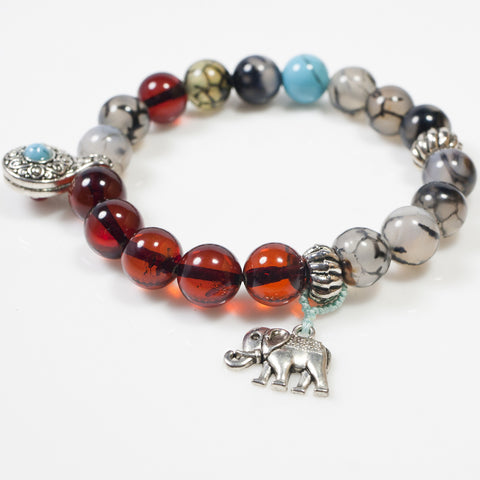 [Chiyoflow] Blood Amber Good Luck Elephant Bracelet w/ Tassel