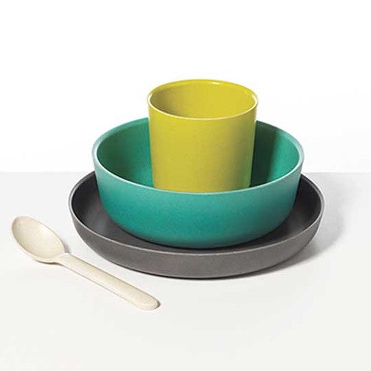 BIobu by Ekobu green, blue, aqua and charcoal complete earth friendly dinner set. Wholesome Gifts. Australia.