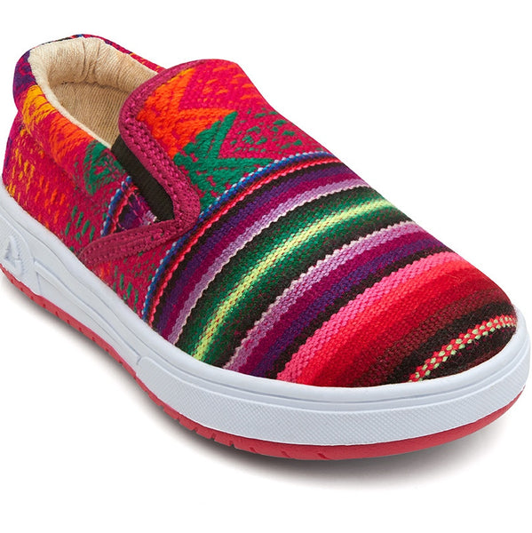 Inkkas cotton candy bright pink slip on shoes are handmade in South America. Fair trade, ethical and sustainable kids shoes by Inkkas. Wholesome Gifts.