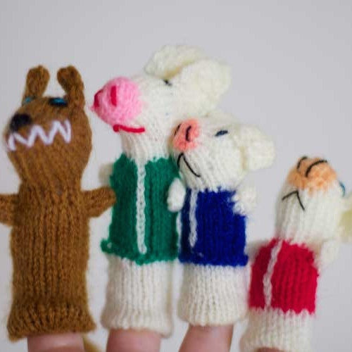 Wolf and pig finger puppet set