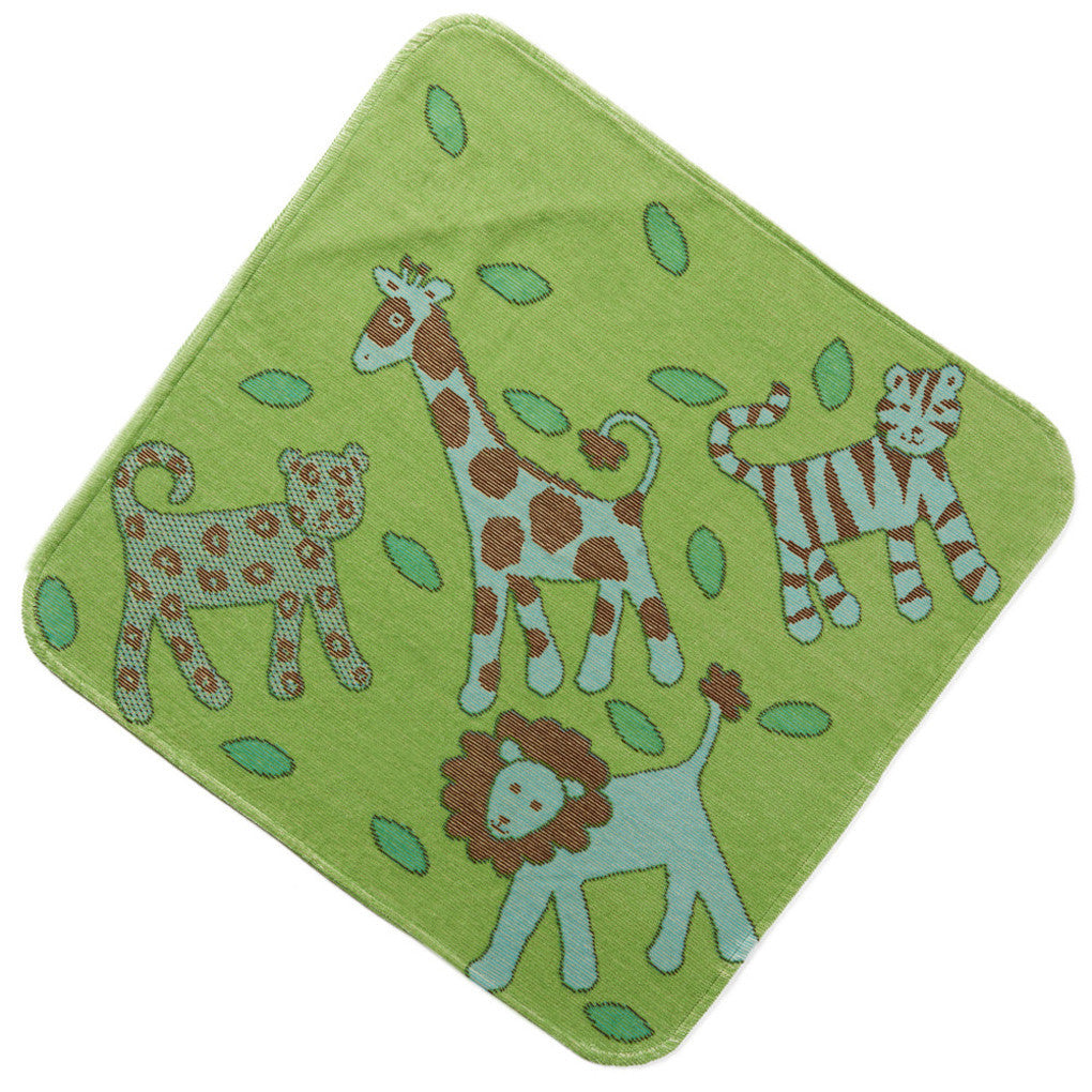 Organic cotton hooded baby towel in Green Jungle by Breganwood Organics. Wholesome Gifts Australia. Ethical and sustainable baby gifts.