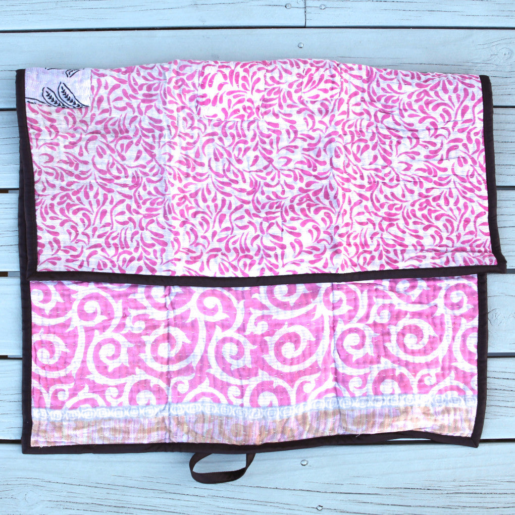 Recycled pink Sari Bari change mat. Made fair trade in India. Now in Australia.