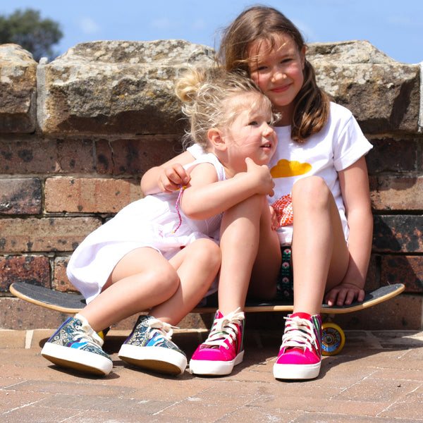 Inkkas Fair trade shoes. Handmade in South America. Inkkas hightop shoes have a sustainable rubber sole and for every pair bought, a tree is planted in the Amazon. Available in Australia through Wholesome Gifts.