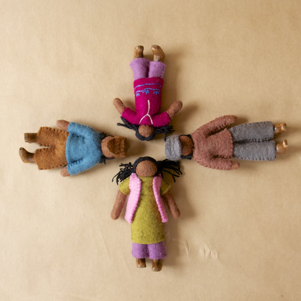 Papoose, Colours of Australia, Standing African Family toys. Felt, Ethical, Handmade. Wholesome Gifts.