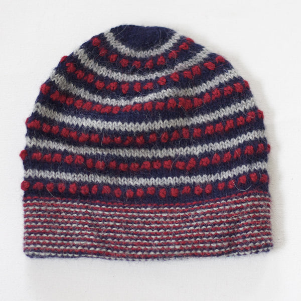 Grey, red and navy beanie