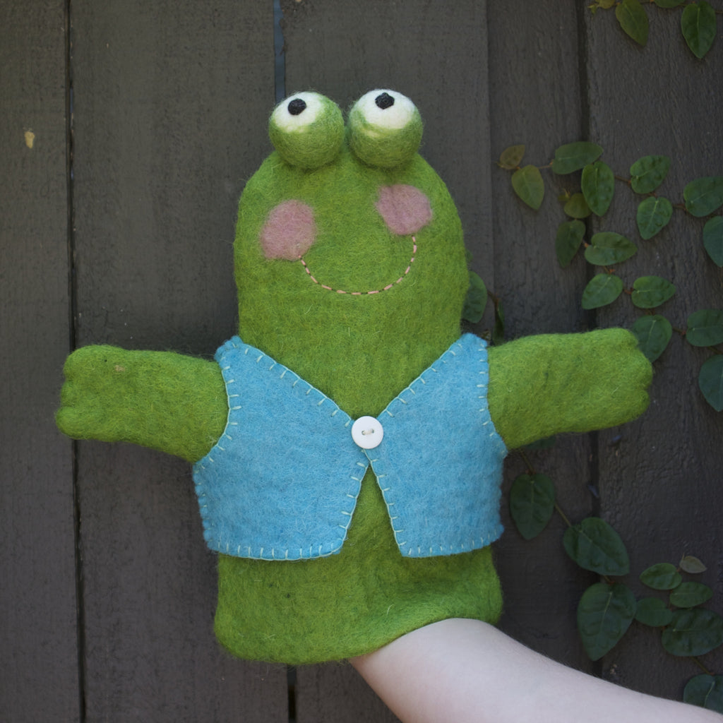 A great gift for babies, toddlers and kids. Eco-friendly, ethical, pure wool, handmade frog hand puppet. Wholesome Gifts. Colours of Australia, Papoose.