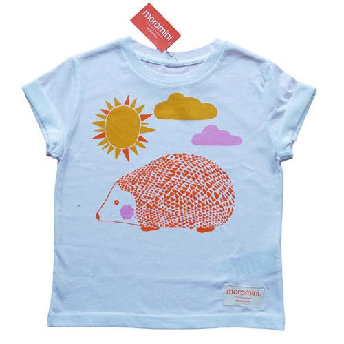 Organic cotton hand-screen printed t-shirt by Moromini. A charming Scandinavian children's brand. Available in Australia. Wholesome Gifts.
