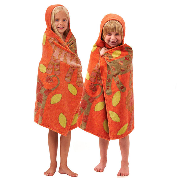 Breganwood Organics bright orange jungle organic cotton bath wrap towel. Ethical and sustainable gifts for kids. Wholesome Gifts.