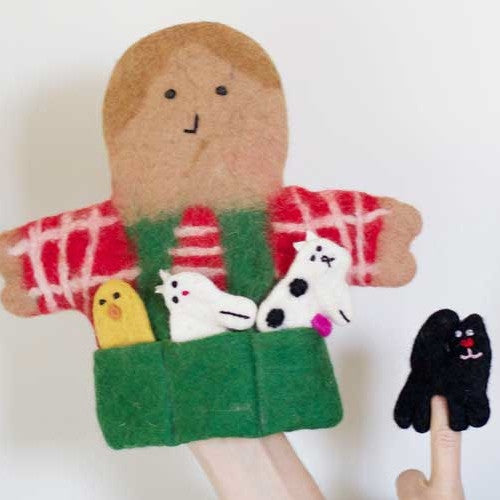 pure wool felt hand puppet. Old McDonald and farm animals. Wholesome Gifts.