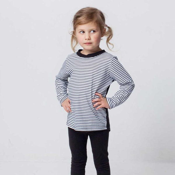 Black and stripe long sleeve top