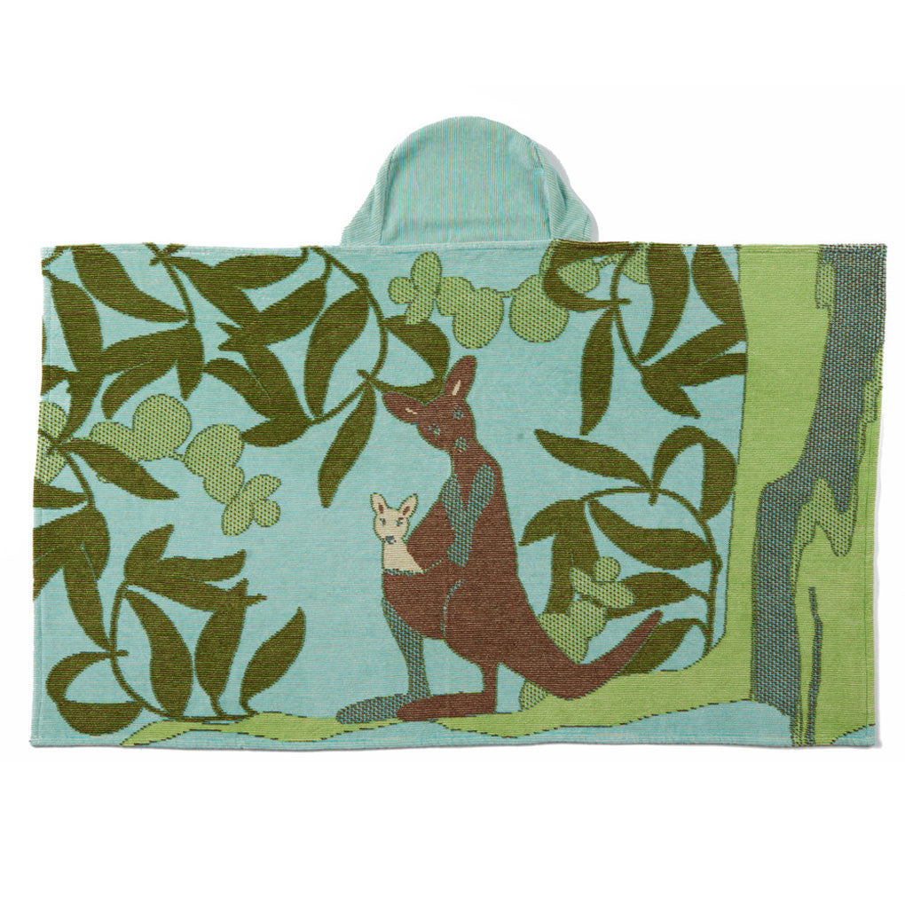 Breganwood Organics hooded bath wrap with a Kangaroo design. Ethical and sustainable gifts for kids. Wholesome Gifts.
