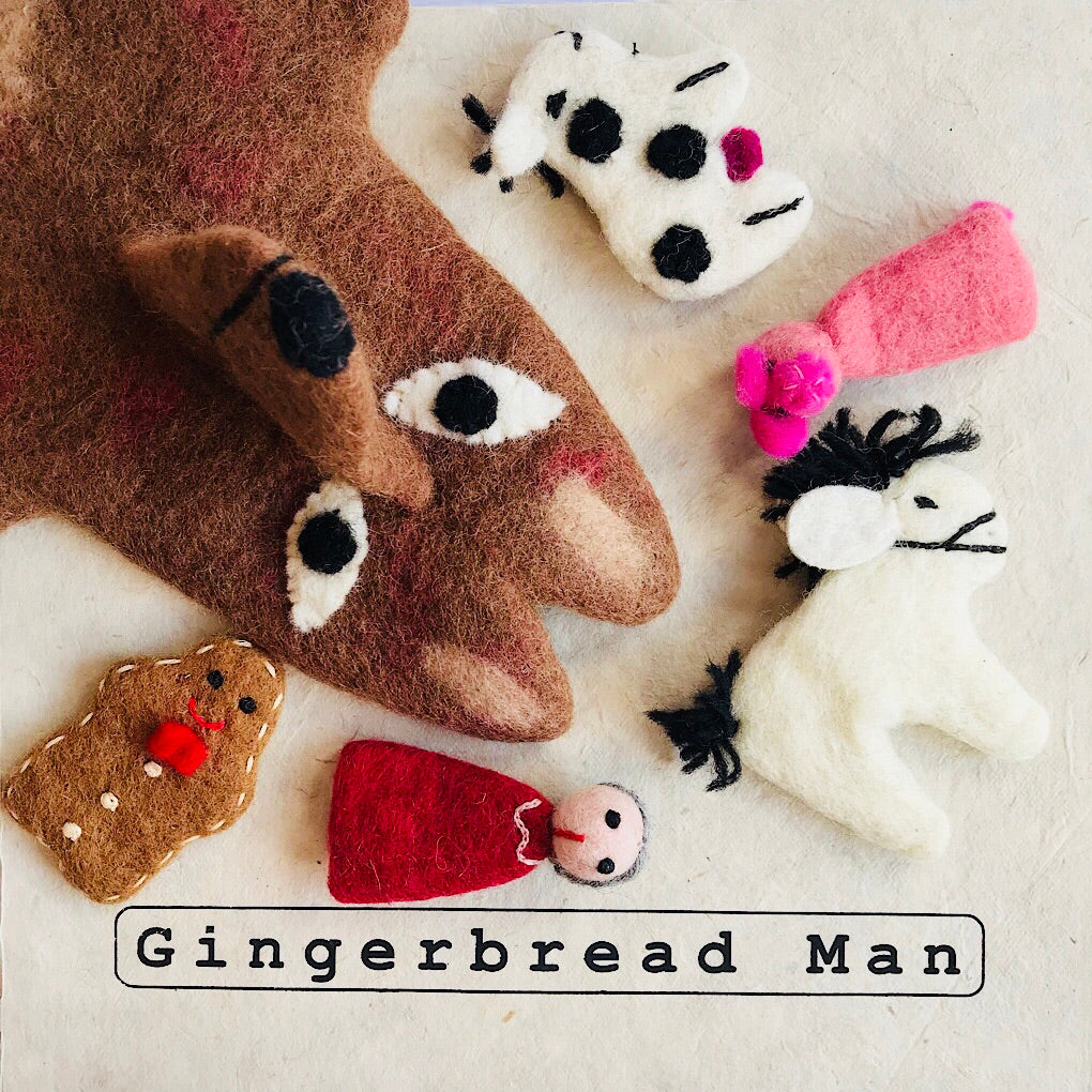 Bring the story of the little gingerbread man to life with this ethically handmade pure wool natural felt puppet set. Handmade in Nepal. Designed in Australia. Wholesome Gifts.
