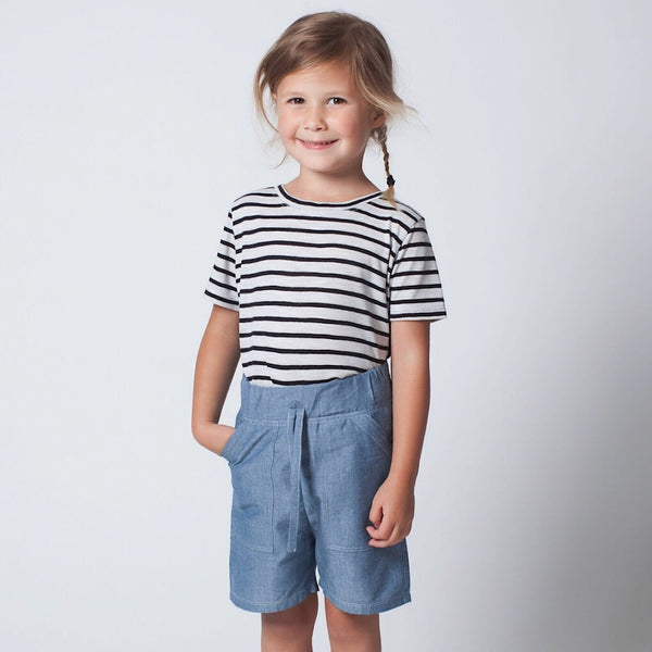 ReCreate Scope shorts for boys and girls. Organic cotton, Fair trade kids fashion. Made from 100% certified organic cotton chambray. Wholesome Gifts, Australia.