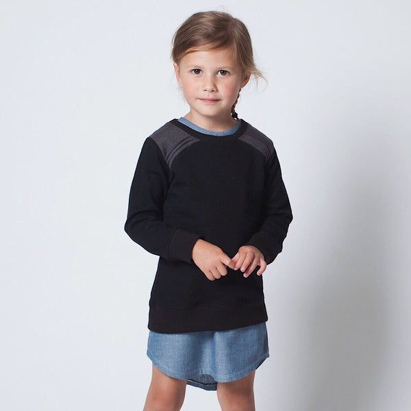 ReCreate fair trade organic cotton kids fashion. Black soft jumper for boys and girls. Size 2 year olds and 4 year olds. Wholesome Gifts Australia.