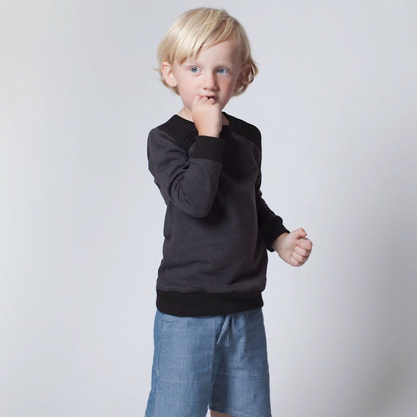 ReCreate fair trade organic cotton kids fashion. Charcoal, grey and black soft jumper for boys and girls. Size 2 year olds and 4 year olds. Wholesome Gifts Australia.