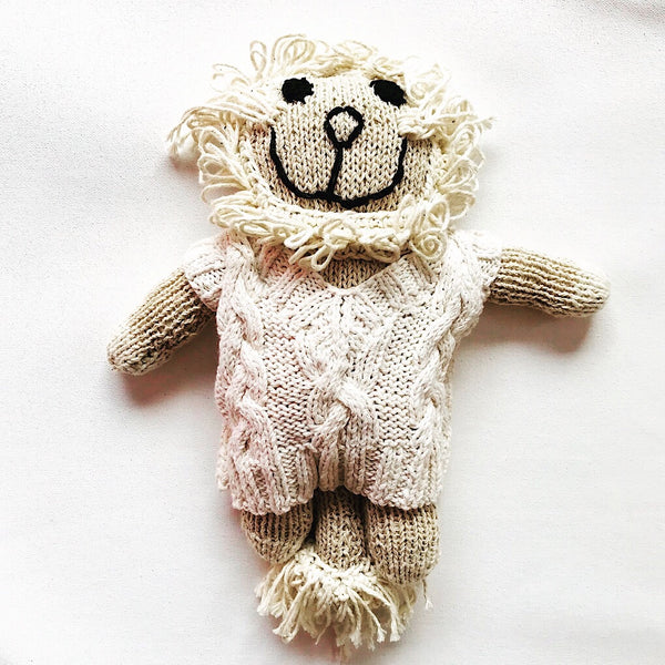 Soft toy lion with jumper