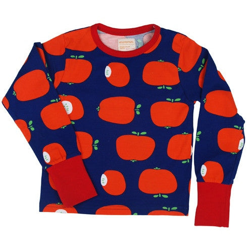 Apple pie long sleeve top by Moromini. Scandinavian kids fashion. Organic cotton kids clothes. Made in Sweden. Can be worn as pyjamas. Wholesome Gifts Australia.