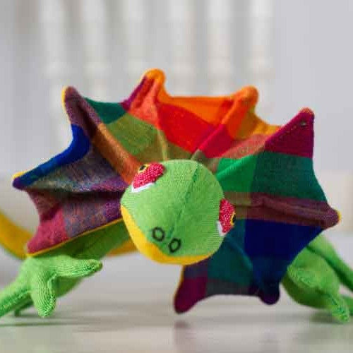 Barefoot toy frilled neck lizard ethically handmade in Sri Lanka. Wholesome Gifts Australia.