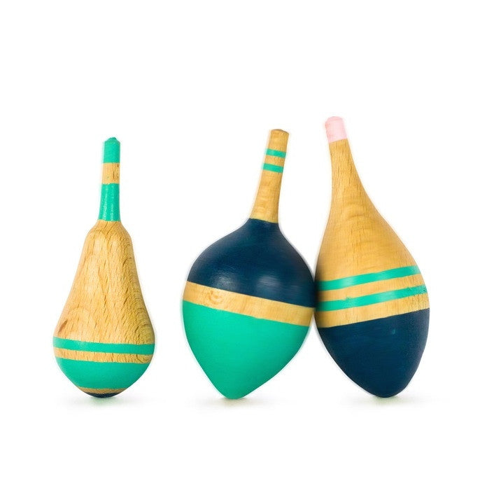 handmade ethical and sustainable wooden spinning tops. Eperfa. Wholesome Gifts Australia