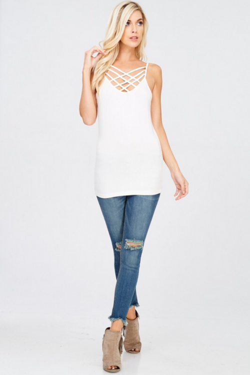Criss Cross Cami Tank - White