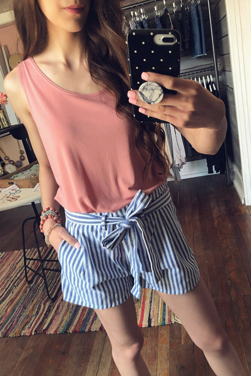 Lead Me There Striped Shorts (Blue)-Bottoms-Southern State of Style, rompers, jeans, raxi, denim, shorts, motto, leggings, texas online boutique, san antonio boutique, boerne boutique, southern boutique, floral romper, fall outfit, gameday outfit, teacher outfits, local boutique, fashionable affordable clothes for women, affordable clothes for women, cute outfits