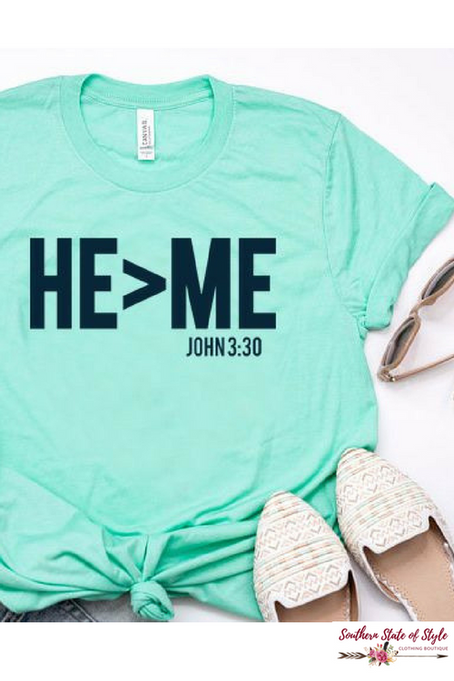 He > Me Tee, Mint-Tops-Southern State of Style, casual, work wear, southern, texas boutique, online boutique, women's clothing boutique, boerne boutique, cute, floral, game day, teacher outfit, fall outfit inspiration, tank top, kimono, long sleeve, boho chic, short sleeve