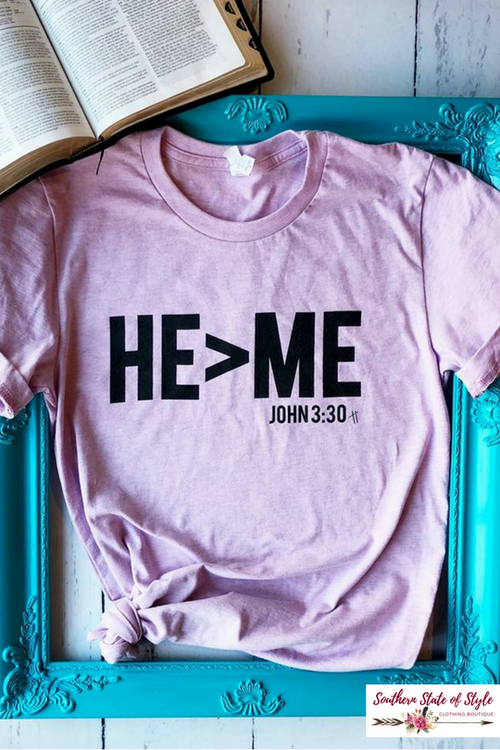 He > Me Tee, Lavender-Tops-Southern State of Style, casual, work wear, southern, texas boutique, online boutique, women's clothing boutique, boerne boutique, cute, floral, game day, teacher outfit, fall outfit inspiration, tank top, kimono, long sleeve, boho chic, short sleeve