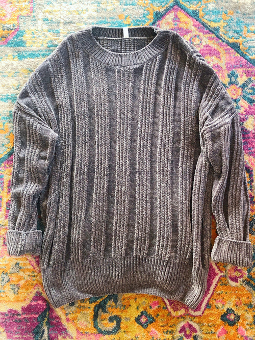 Oversized Chenille Sweater - Gray