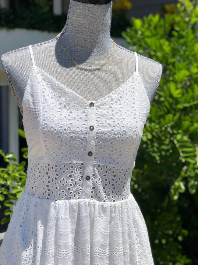 White Mid Length Eyelet Dress-Dresses-Southern State of Style, rompers, boho chic dresses, fall dresses, short dresses, maxi dresses, floral dress, bell sleeves, blue dress, black dress, pink dress, homecoming dress, rush dress, dress for engagement photos, bridal shower dress, texas online boutique, san antonio boutique, boerne boutique, southern boutique, floral romper, fall outfit, gameday outfit, teacher outfits, local boutique, fashionable affordable clothes for women, affordable clothes for women, cute outfits