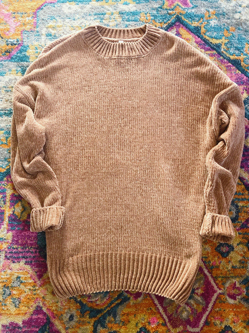 Oversized Chenille Sweater - Mocha