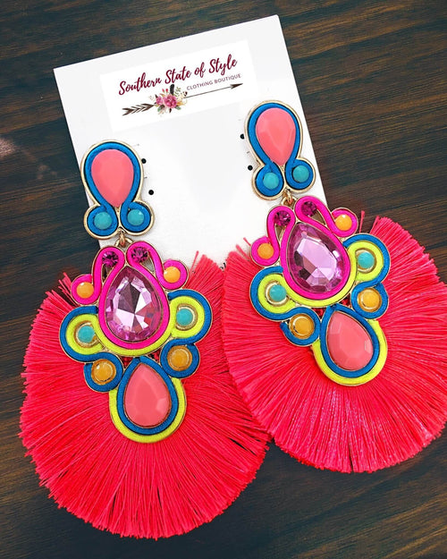 Tropical Paradise Statement Earrings - Neon Pink